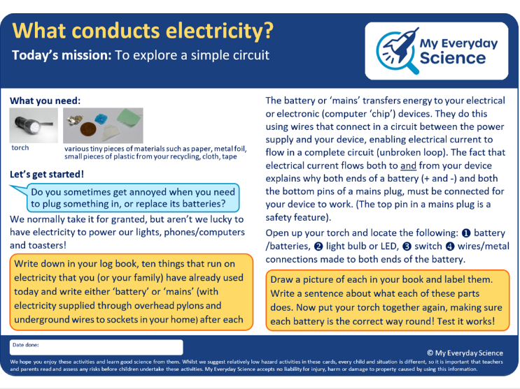 Y4 Electricity My Everyday Science