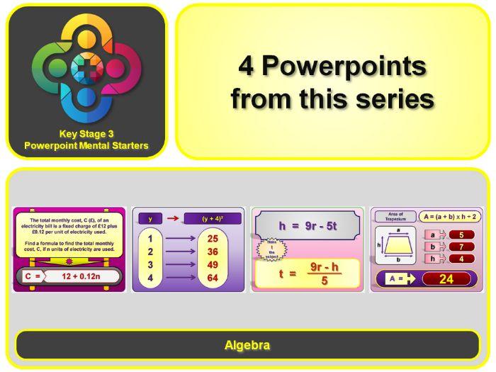 KS3 Maths Mental Starters:  Algebra - Formulae