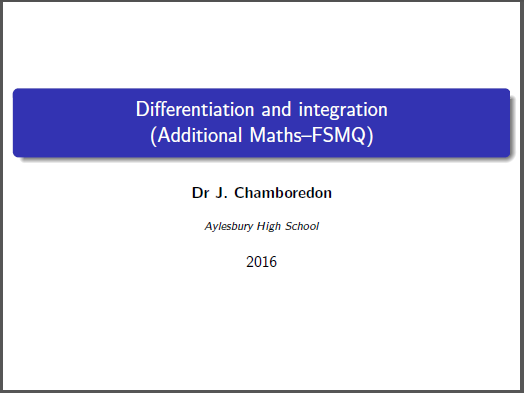 Differentiation and integration revision (FSMQ / Additional maths)