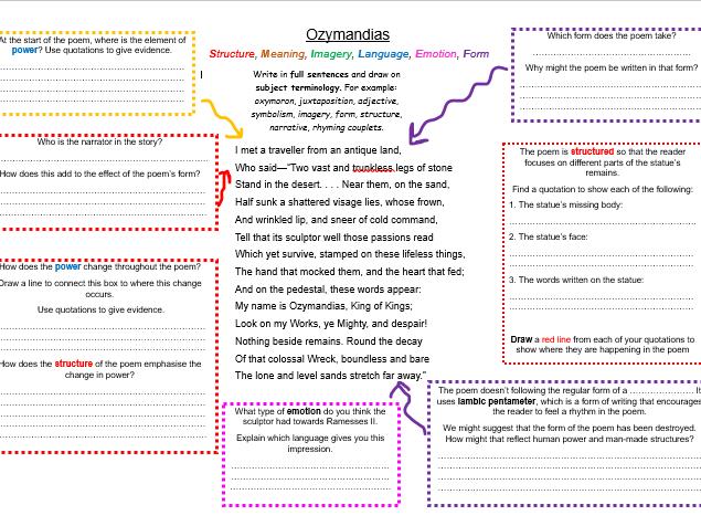 Ozymandias Deep Analysis Worksheet