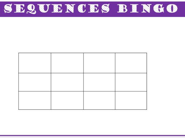 Sequences Bingo