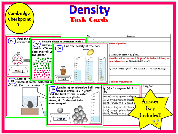 Cambridge Checkpoint 3 - Density - Task Cards