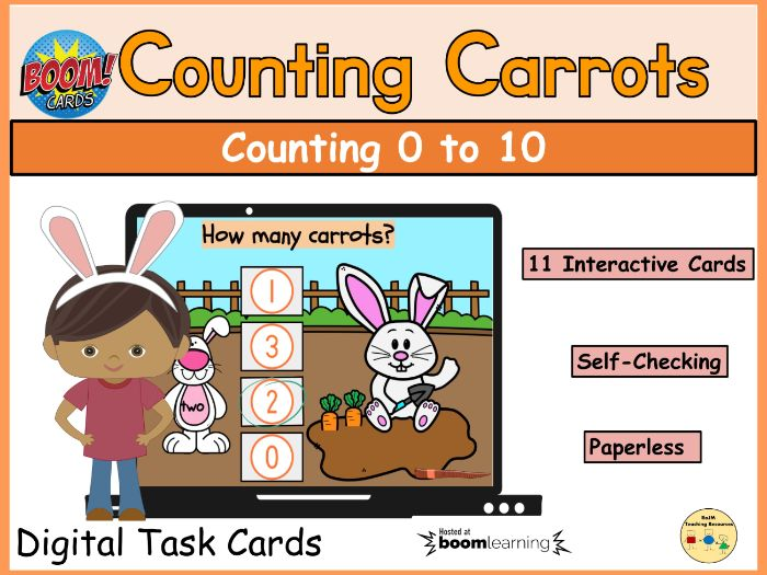 Counting Carrots to 10 Easter Spring Boom Cards™ Distance Home Learning Task Cards