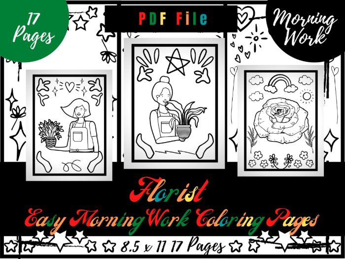 Florist Morning Work Colouring Pages, Easy Printable Colouring Sheets PDF