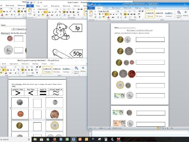 Maths Year 1 Identifying, comparing and adding coins worksheets