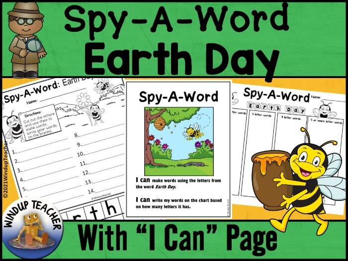 Earth Day Word Work Activity Center Spring