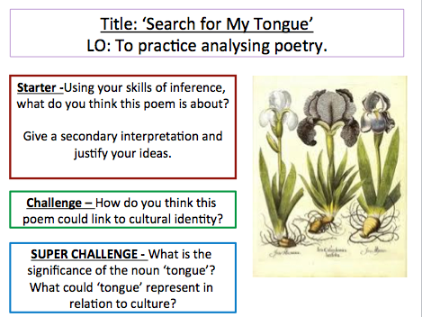 Search for my Tongue - Sujatta Bhatt. How does the writer present ideas about identity in the poem?