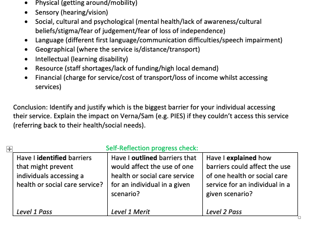 BTEC Tech Award Health and Social Care Component 2 Learning Aim A Component Guide Level 1/2