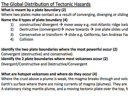 Exam Questions for Tectonics Topic- Geography AS/A Level Edexcel