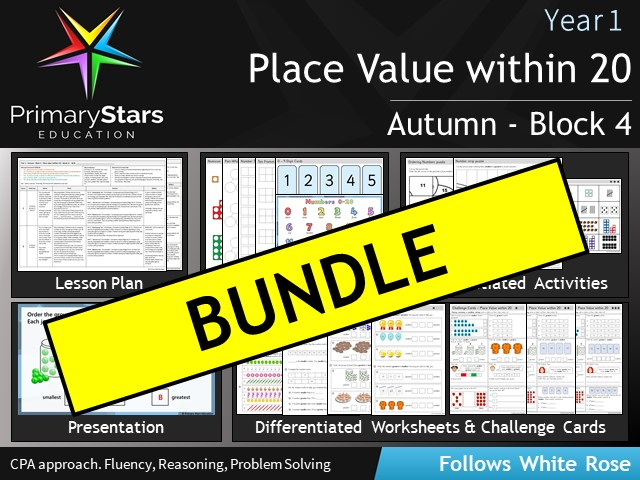 Year 1 - White Rose - Place value (within 20) - Block 4 Unit- Autumn BUNDLE