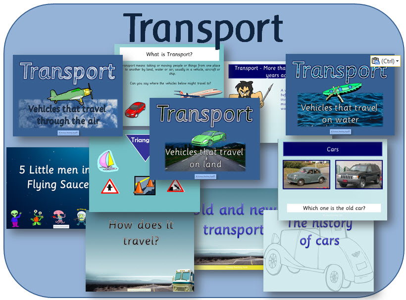 Transport EYFS topic pack - powerpoints and activities
