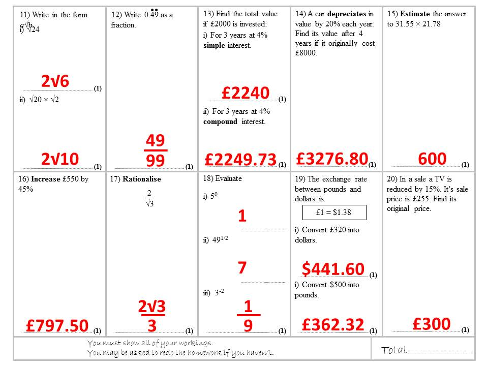 Number Homework or Revision Sheets - Grade 4 to 6 target