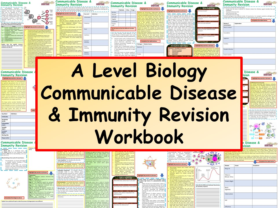 OCR / AQA A Level Biology Communicable Disease & Immunity Revision Workbook