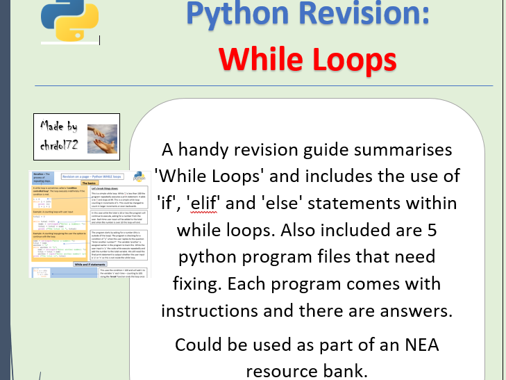 Python revision and activities - While Loops
