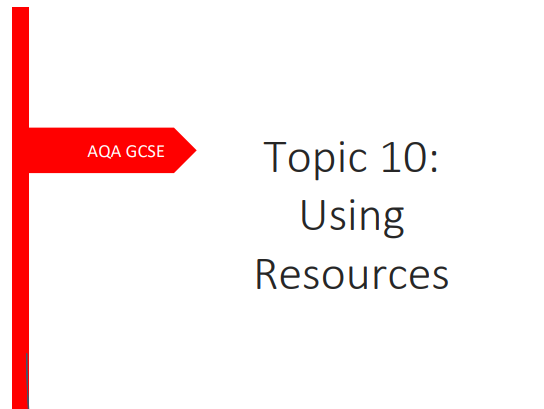 AQA GCSE Chemistry Topic 10: Using Resources. Consolidation/Revision Booklet.