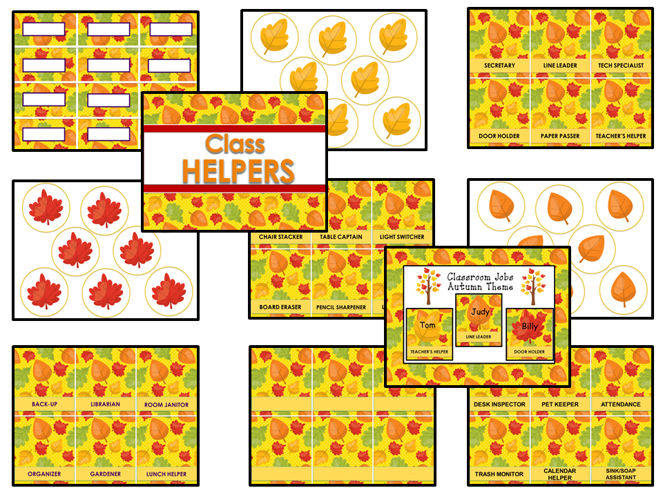 Classroom Helpers Editable Autumn Theme