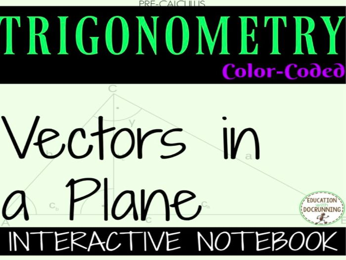 Vectors in a Plane Color Coded Interactive Notebook for PreCalculus