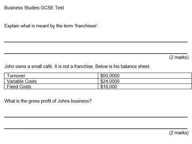 GCSE Business Studies Franchising Test