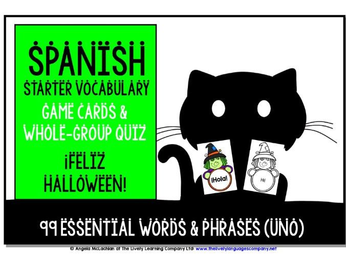 SPANISH VOCABULARY HALLOWEEN CARDS 1