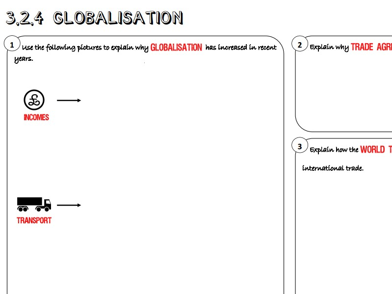 AQA GCSE Business (9-1) 3.2.4 Globalisation Learning Mat / Revision