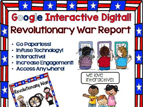Google Drive Revolutionary War Report Interactive Notebook for Google Classroom