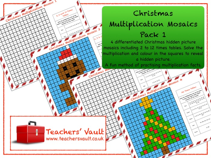 Christmas Multiplication Mosaics Pack 1