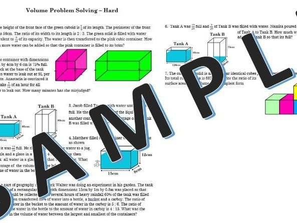 Volume - worded problem solving