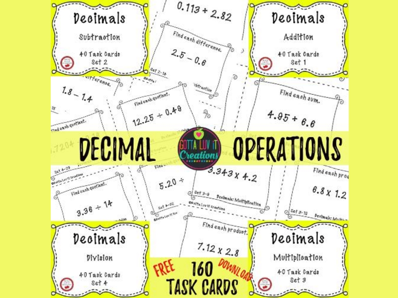 photo regarding Free Printable Task Cards identified as No cost Down load - Decimals Process Playing cards