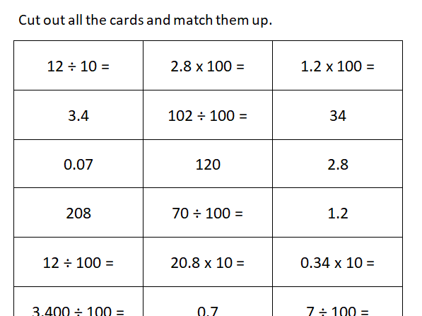 Y4 Multiplying and dividing by 10 and 100 - problem solving matching game