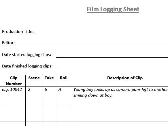 Film Logging Sheet (Film & TV/Media Students)