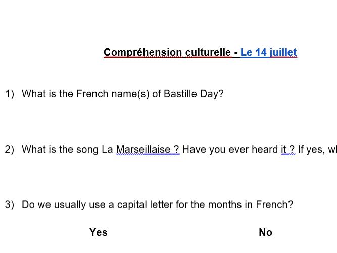 Listening  - Video 14 juillet (Bastille Day)