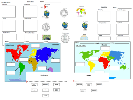 Map Skills Cut&Paste Activity Worksheets