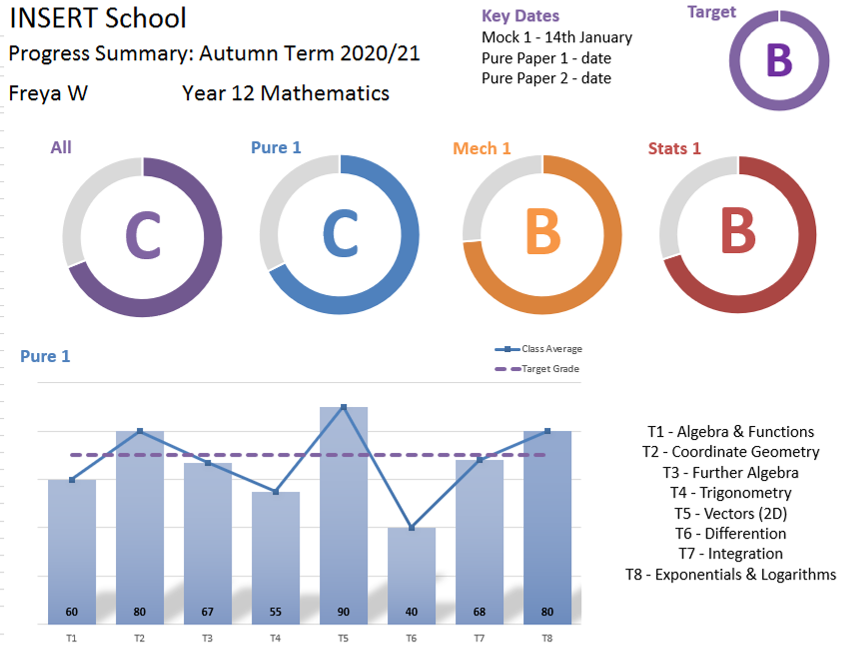A Level Maths Markbook & Progress Summary