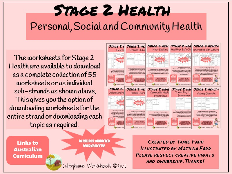 Stage 2 Health Worksheets for Personal, Social and Community Health
