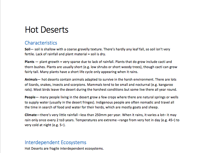 GCSE Geography- Hot Deserts Notes (a complete comprehensive guide!)