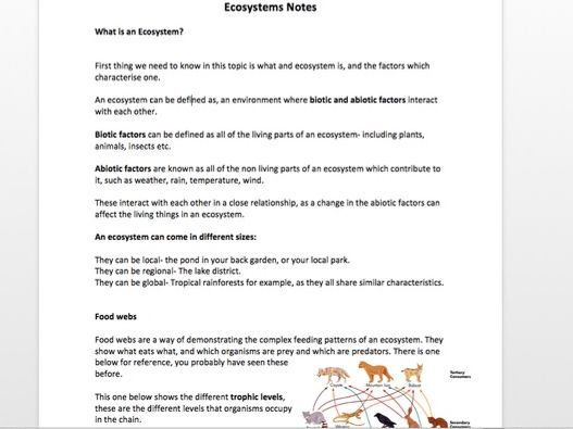 ECOSYSTEMS NOTES AQA GCSE GEOGRAPHY
