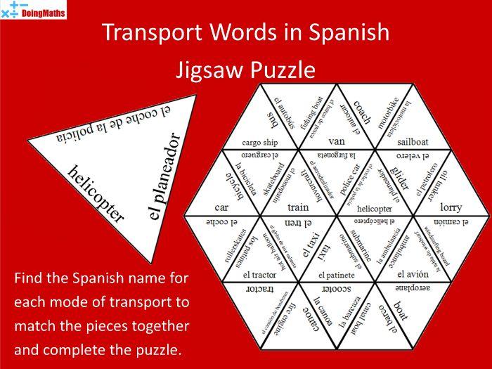 Spanish Vocabulary Jigsaw Puzzle - Transport | Teaching ...