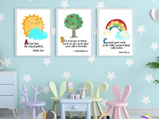 Printable Wall Art Set - ABC Bible Verses