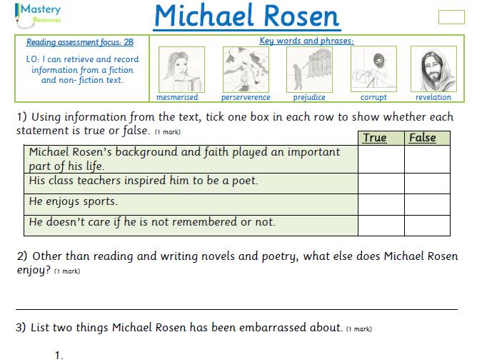 Michael Rosen interview comprehension KS2