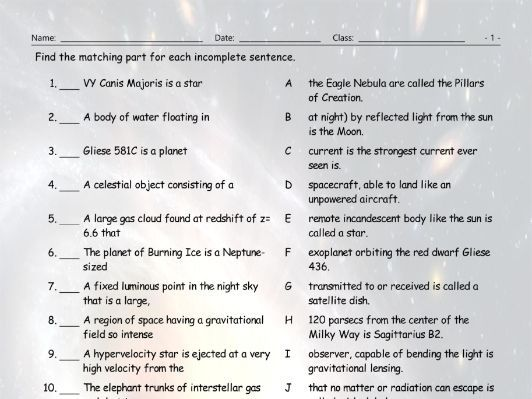 Space-Astronomy Sentence Match Worksheet