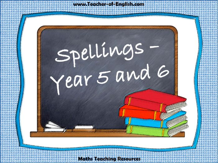 Spellings Year 5 and Year 6 (PowerPoint and worksheets)