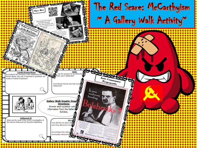 U.S. History: Red Scare- McCarthyism ~ Gallery Walk Student Activity~