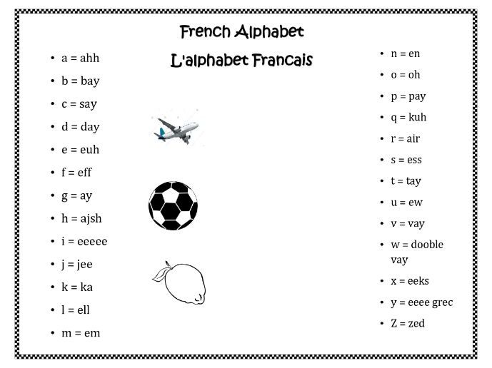 French Alphabet Worksheet for Home Learning