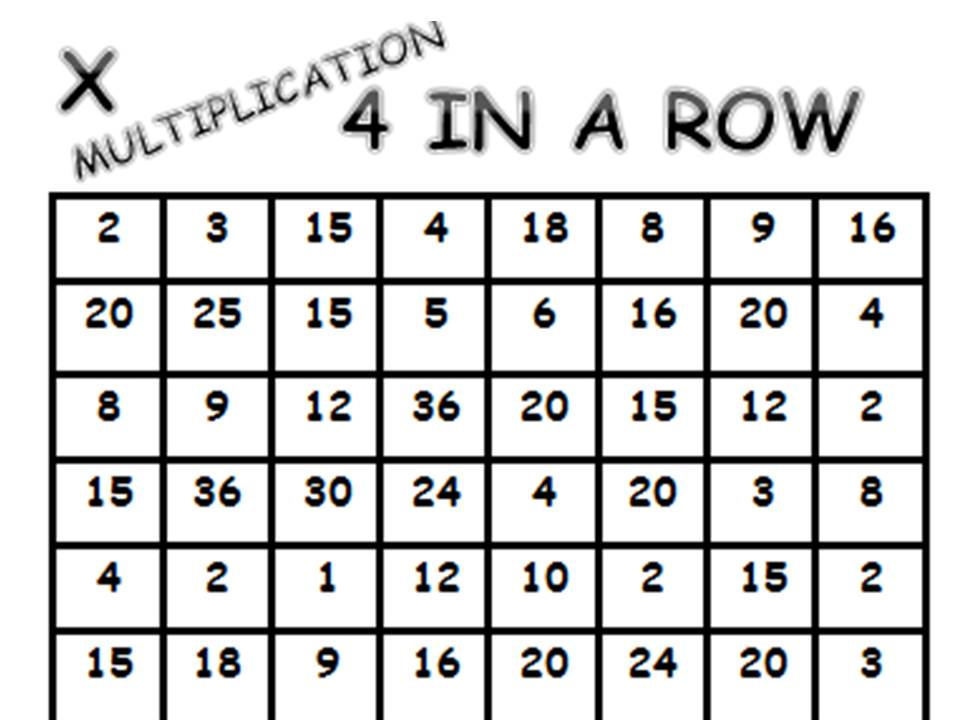 4 IN A ROW GAME ADITION, SUBTRACTION AND X TABLES