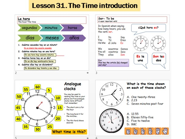 Lesson 31 Telling the time introduction. La hora