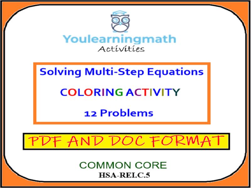 Solving Multi-Step Equations - Coloring Activity