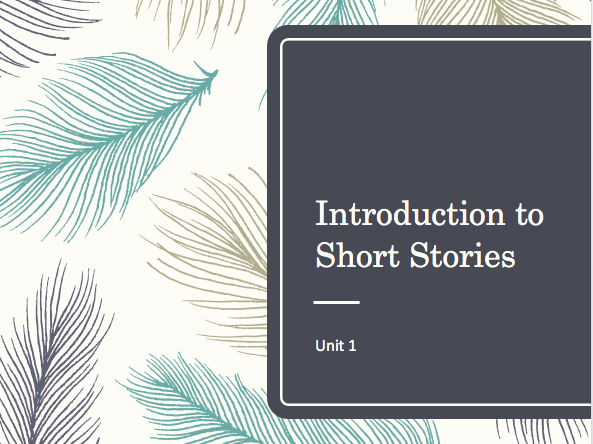 Short Stories Introduction