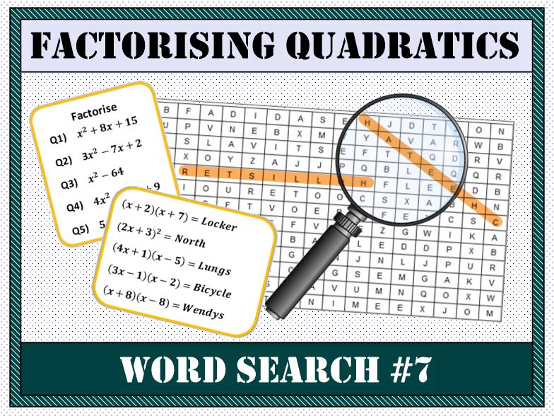 Factorising Quadratics Word Search #7
