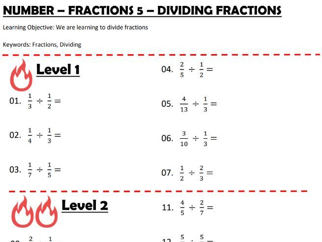 Number - Fractions 5 - Dividing Fractions
