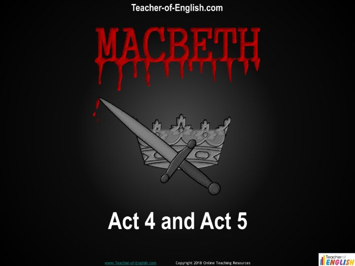 Macbeth Act 4 and Act 5 (32 slide PowerPoint and 4 worksheets)